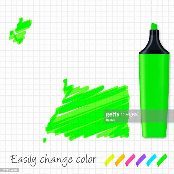 stockillustraties, clipart, cartoons en iconen met equatorial guinea map hand drawn on grid paper, green highlighter - bloco