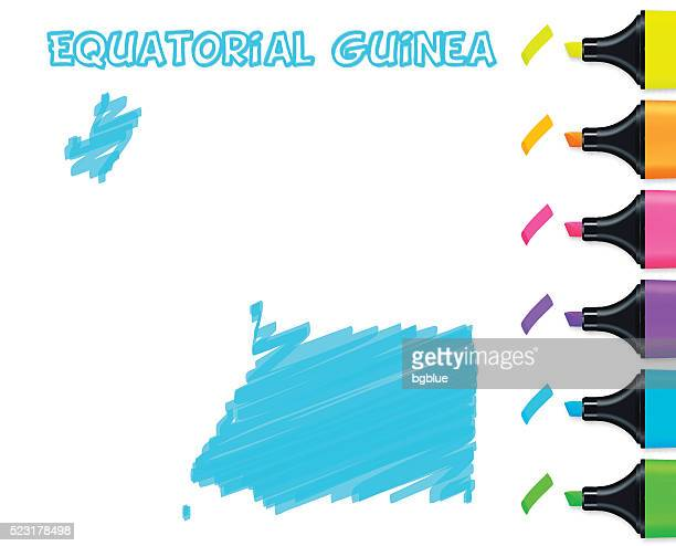 stockillustraties, clipart, cartoons en iconen met equatorial guinea map hand drawn on white background, blue highlighter - bloco