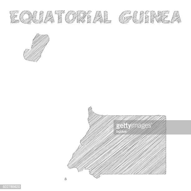 stockillustraties, clipart, cartoons en iconen met equatorial guinea map hand drawn on white background - bloco