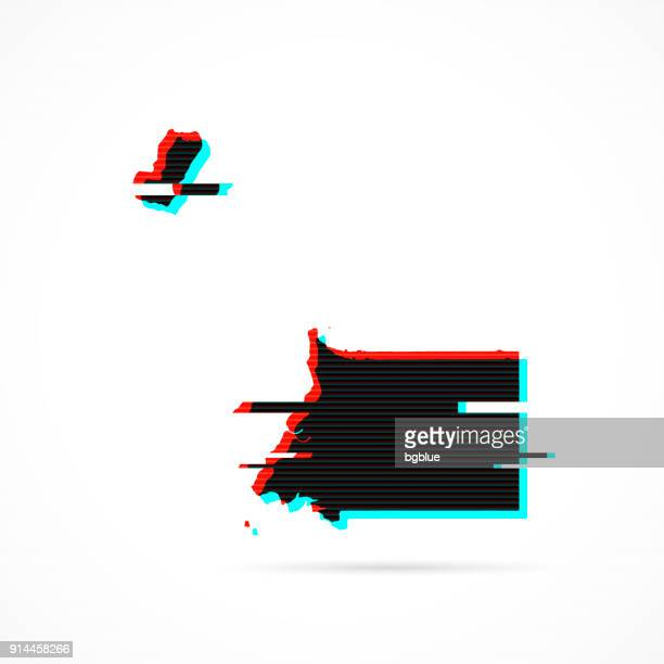 stockillustraties, clipart, cartoons en iconen met de kaart van equatoriaal-guinea in vervormde glitch stijl. moderne trendy effect - bloco