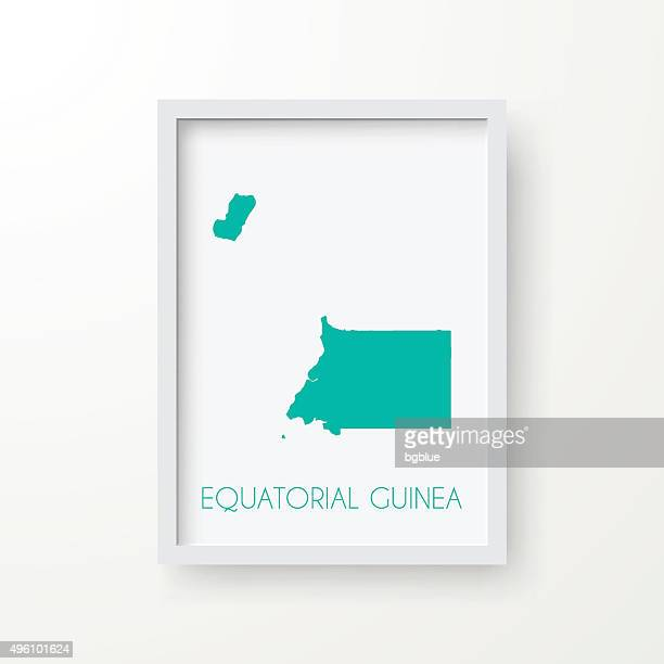 stockillustraties, clipart, cartoons en iconen met equatorial guinea map in frame on white background - bloco
