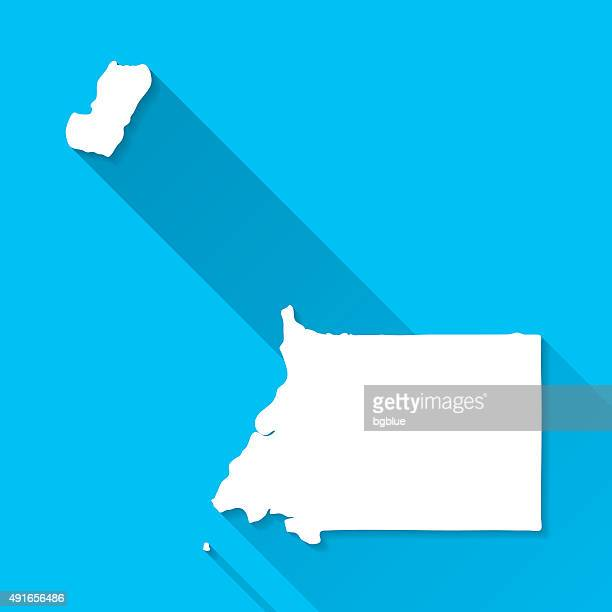 stockillustraties, clipart, cartoons en iconen met equatorial guinea map on blue background, long shadow, flat design - bloco
