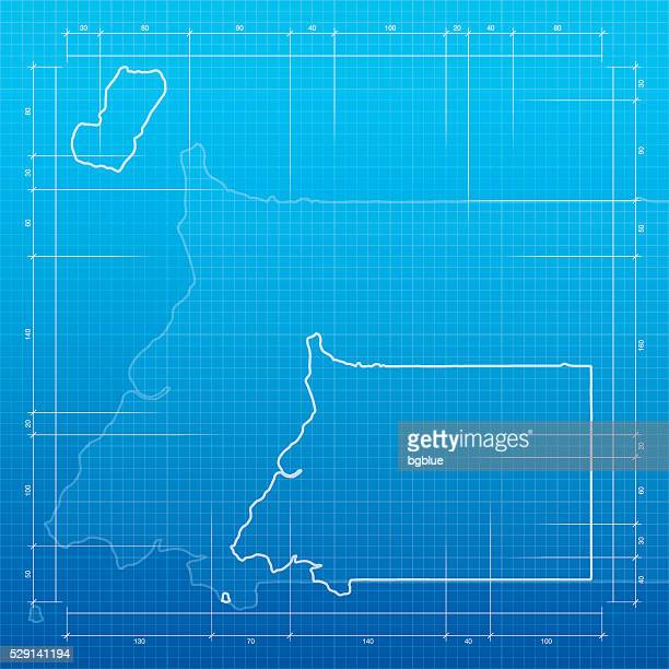 stockillustraties, clipart, cartoons en iconen met equatorial guinea map on blueprint background - bloco