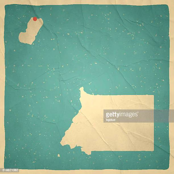 stockillustraties, clipart, cartoons en iconen met equatorial guinea map on old paper - vintage texture - bloco