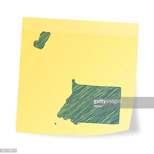 stockillustraties, clipart, cartoons en iconen met equatorial guinea map on sticky note with scribble effect - bloco