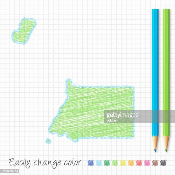 stockillustraties, clipart, cartoons en iconen met equatorial guinea map sketch with color pencils, on grid paper - bloco