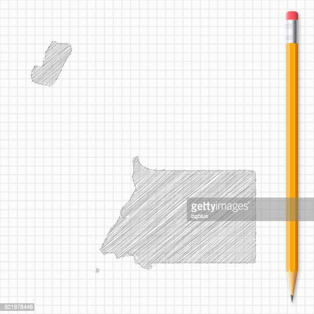stockillustraties, clipart, cartoons en iconen met equatorial guinea map sketch with pencil on grid paper - bloco