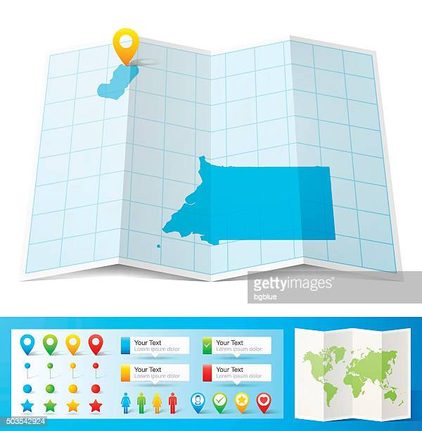 stockillustraties, clipart, cartoons en iconen met equatorial guinea map with location pins isolated on white background - bloco