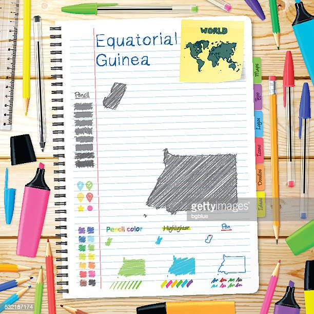 stockillustraties, clipart, cartoons en iconen met equatorial guinea maps hand drawn on notebook. wooden background - bloco