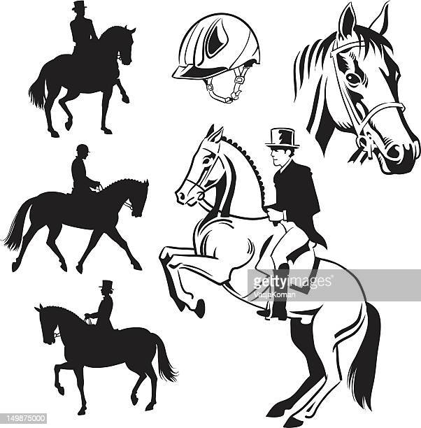 equestrian dressage - drawings and silhouettes - mare stock illustrations, clip art, cartoons, & icons