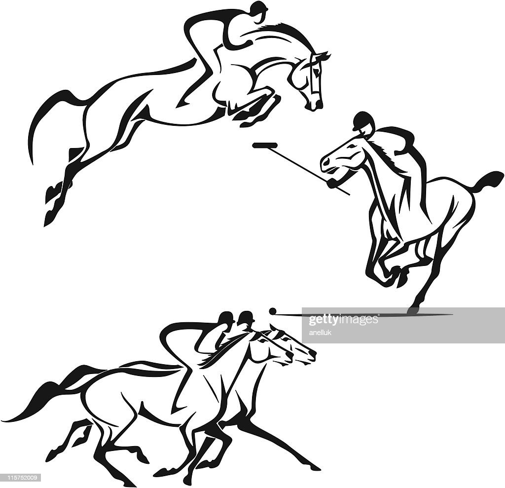 Equestrian sports showing racing and polo