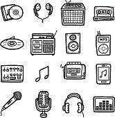 equipment about music, icons set