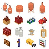 Equipment and Beer Production Set Isometric View. Vector