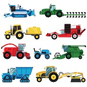 Equipment farm for agriculture machinery combine harvester vector