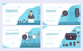 Equipment of the photographer. Camera brochure card set.  Photo studio items template of flyer, web banner, ui header, enter site. Layout invitation modern slider