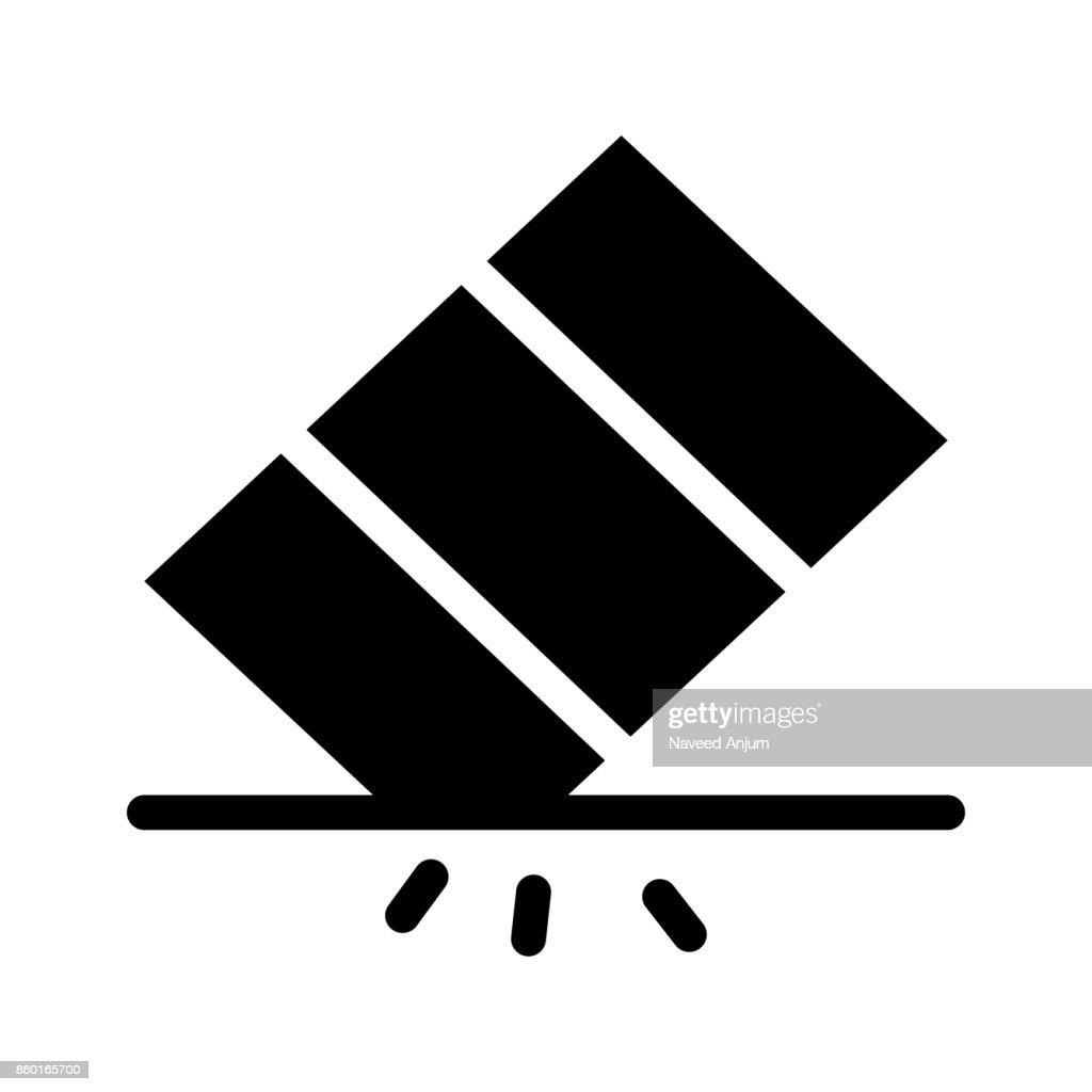 eraser Glyphs Vector Icon