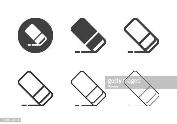 eraser icons - multi series - eraser stock illustrations