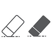 Eraser line and glyph icon, school and education, rubber sign vector graphics, a linear pattern on a white background, eps 10.