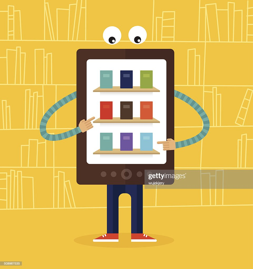 E-reader character chooses the book. E-library.