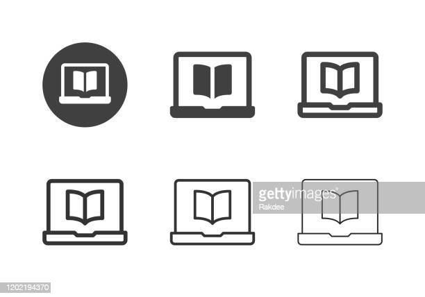 ilustrações, clipart, desenhos animados e ícones de ícones do e-reader - multi series - livraria