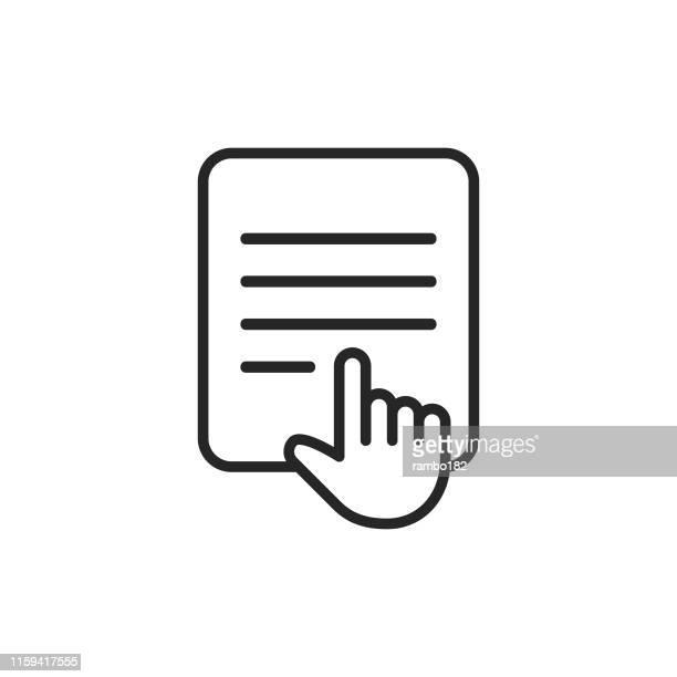 Icono de línea E-Reader. Trazo editable. Píxel perfecto. Para móviles y web.