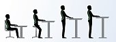 ergonomic. Height adjustable desk or table poses