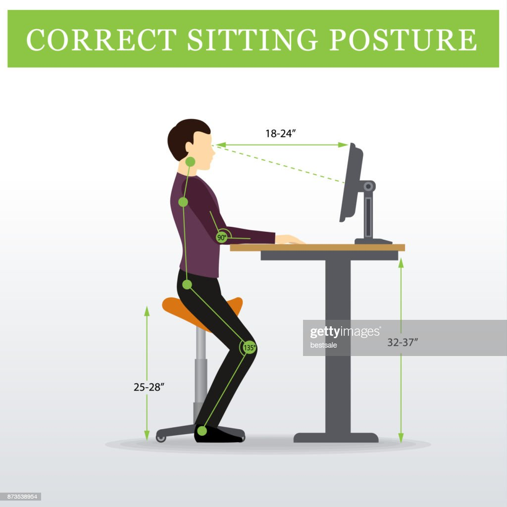 ergonomic. Saddle sitting chair and Height adjustable table