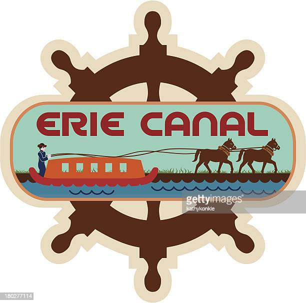 erie canal luggage label or travel sticker - lake erie stock illustrations, clip art, cartoons, & icons