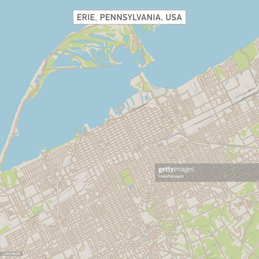 Erie, Pennsylvania USA Stadtstraße Karte : Vektorgrafik