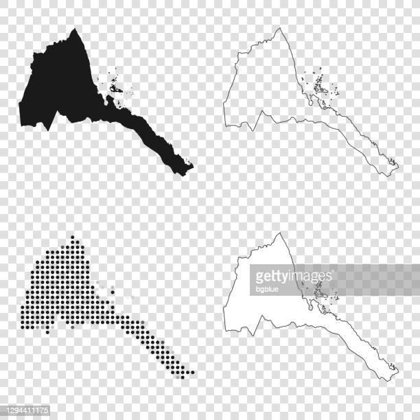 eritrea maps for design - black, outline, mosaic and white - eritrea stock illustrations