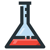 Erlenmeyer Flask Vector Filled Line Icon 32x32 Pixel Perfect. Editable 2 Pixel Stroke Weight. Colorful Medical Health Icon for Website Mobile App Presentation