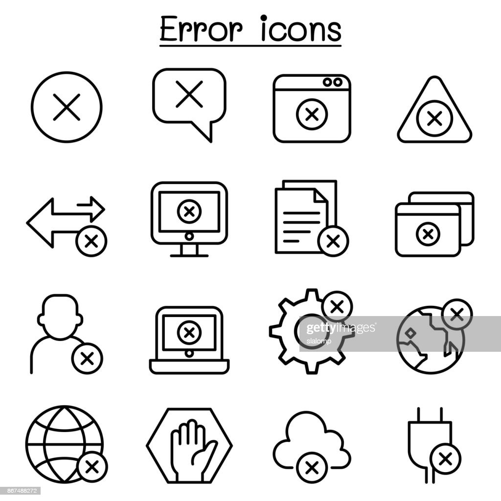 Error icon set in thin line style