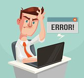Error message and puzzled office worker character