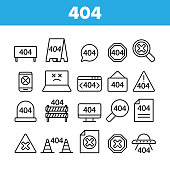 404 HTTP Error Message Vector Linear Icons Set