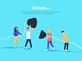 Error page illustration. People holding unplugged cable. Page not found.