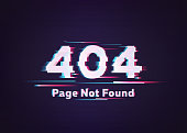 404 Error. Page Not Found. Glitch Vector Illustration.