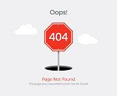 404 error page template for website. 404 alert flat design