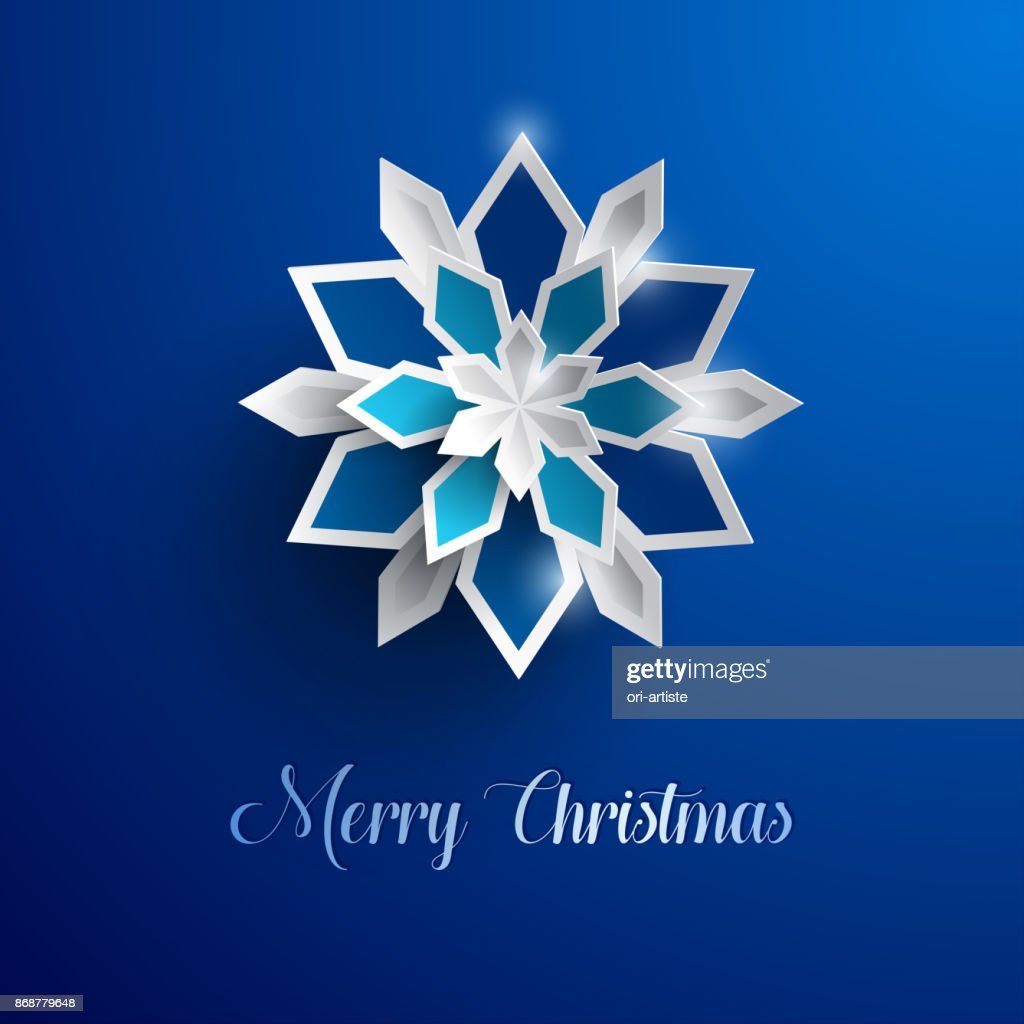 erry Christmas greeting card. Paper graphic of Christmas snowflakes.