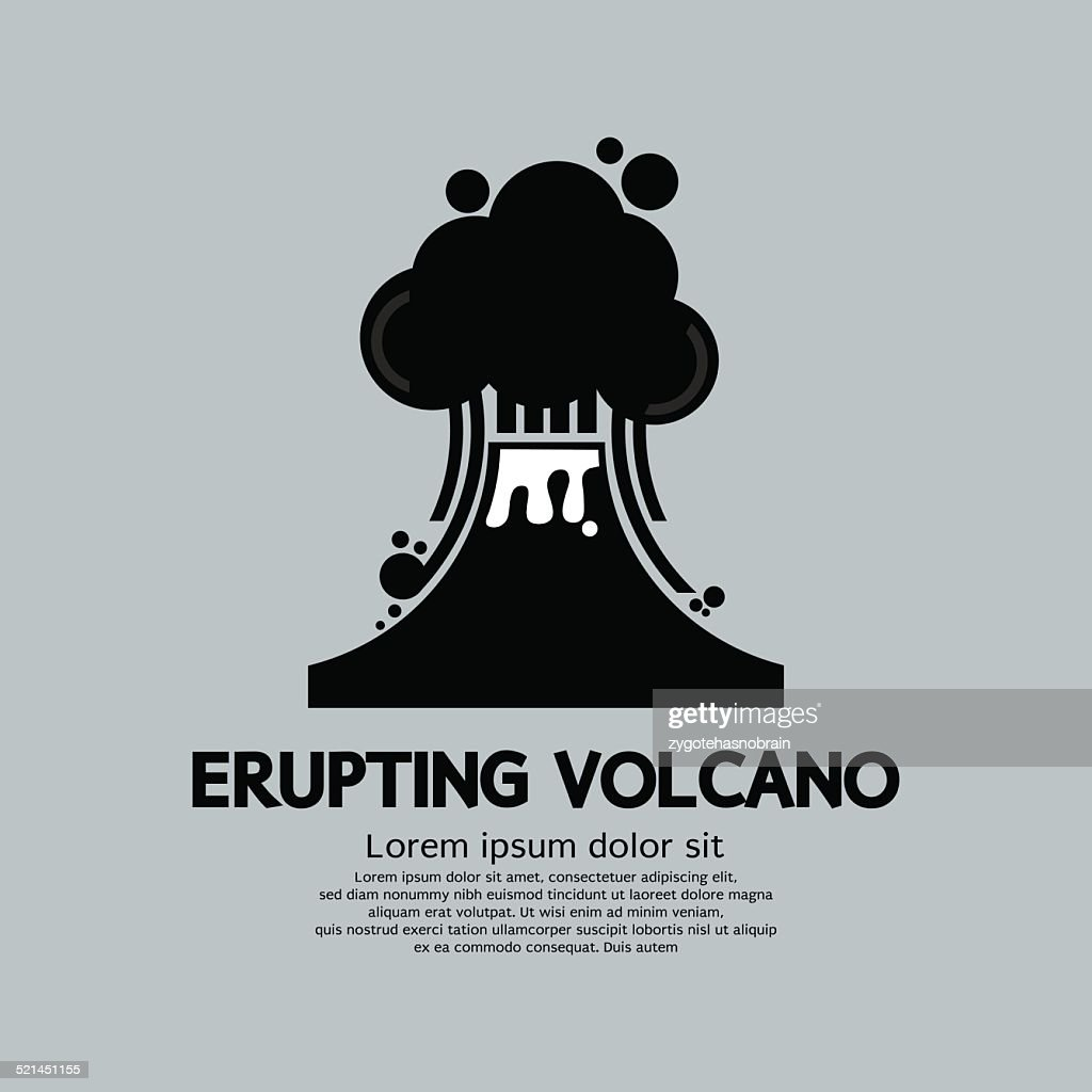 Erupting Volcano Natural Disaster Vector Illustration