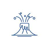 Eruption line icon concept. Eruption flat  vector symbol, sign, outline illustration.