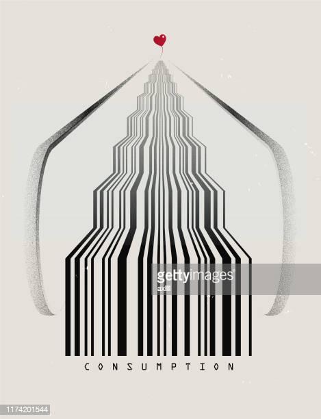 escalator barcode - capitalism stock illustrations