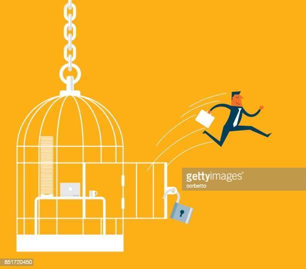 escape - businessman - freedom stock illustrations, clip art, cartoons, & icons