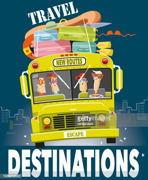 ilustrações, clipart, desenhos animados e ícones de fuga para novas rotas de ônibus - vista frontal