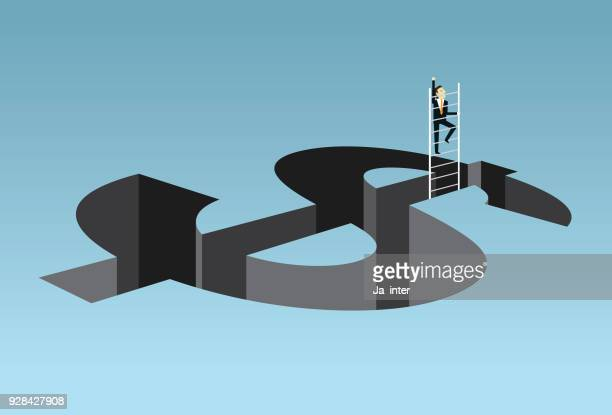 escape from financial hole - dollar sign stock illustrations, clip art, cartoons, & icons