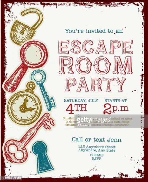 illustrations, cliparts, dessins animés et icônes de modèle de conception d'évasion chambre anniversaire fête célébration invitation - escape game