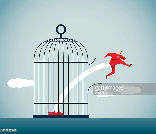 escape - high jump stock illustrations
