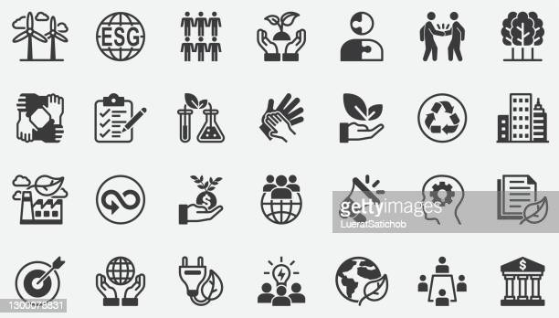 esg,environmental, social, and governance concept icons - environmental issues stock illustrations