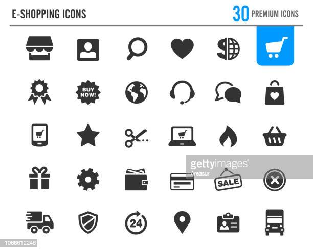 e-shopping icons // premium series - e commerce stock illustrations