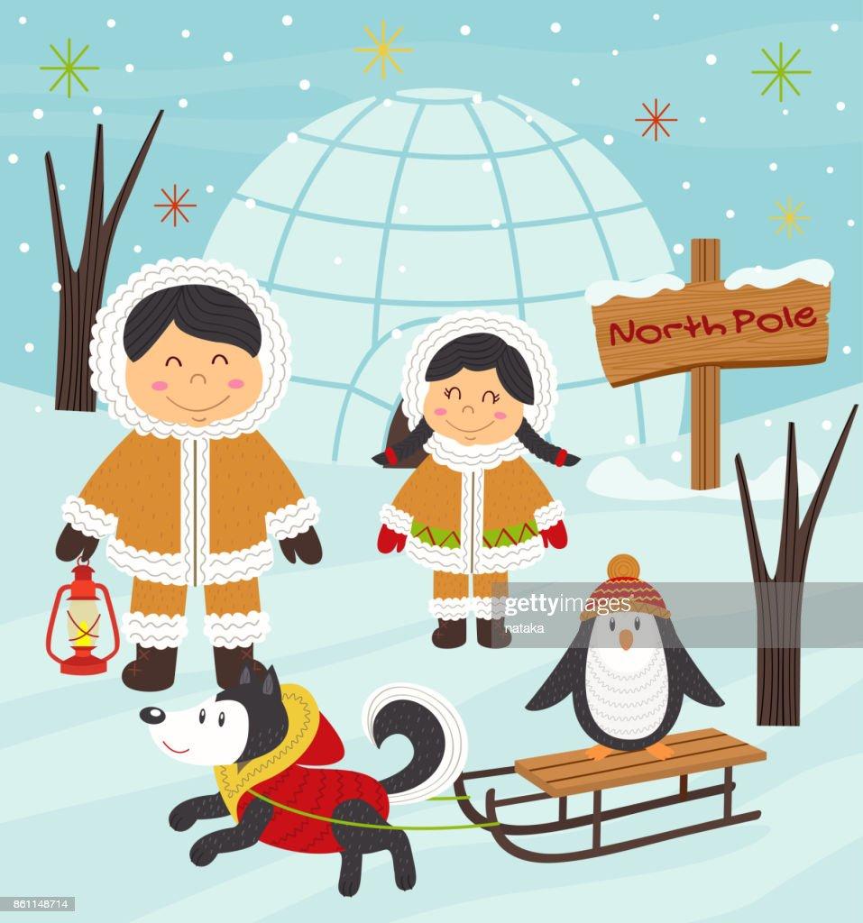 Eskimo boy and girl with arctic animals