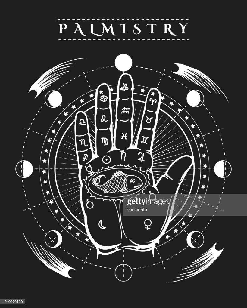 Esoteric human hand fish tattoo poster